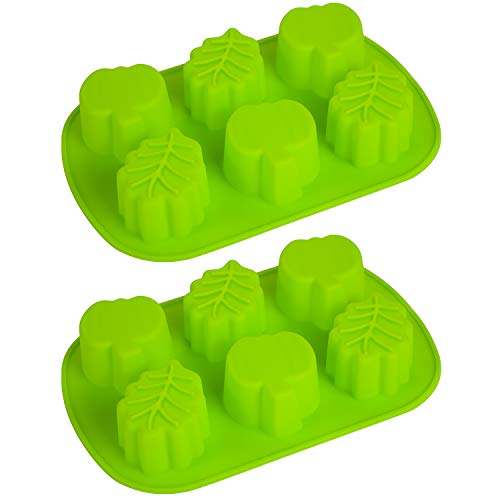 2 Pieces Pumpkin Leaf Silicone Molds 3D Thanksgiving Fall Theme Silicone Molds for Making Soap Candle Candy Muffins Chocolates Cake Decoration