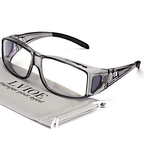 LVIOE Fit Over Blue Light Blocking Glasses and Computer Eyewear - Wear OVER Your Prescription Glasses/ Reading Glasses/ RX Glasses (Grey Frame Anti Blue Light Glasses)