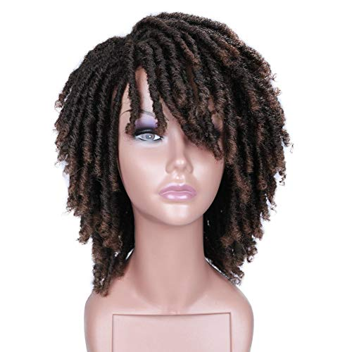 HANNE Dreadlock Wig Short Twist Wigs for Black Women and Men Afro Curly Synthetic Wig (T1B/30)