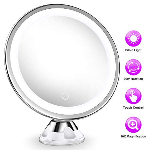 Upgraded 10x Magnifying Lighted Makeup Mirror with 3 of Brightness, Portable LED Lighted Magnification Cosmetic Hand Mirror for Home Vanity Bathroom and Travel