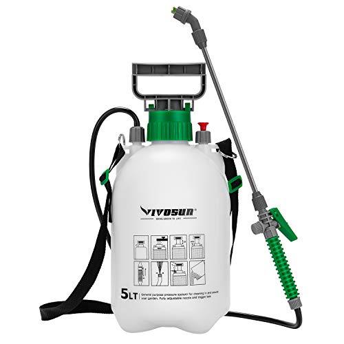 VIVOSUN 1.3 Gallon Lawn and Garden Pump Pressure Sprayer with 3 Water Nozzles, Pressure Relief Valve, Adjustable Shoulder Strap