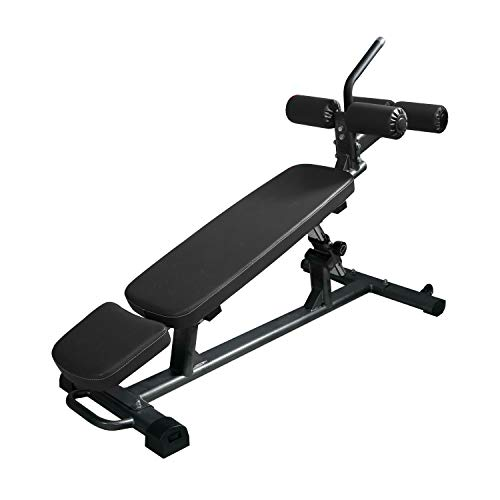Finer Form Semi-Commercial Sit Up Bench Elite [Newly Improved], Reverse Crunch Handle for Ab Exercises and 4 Adjustable Height Settings (Black)
