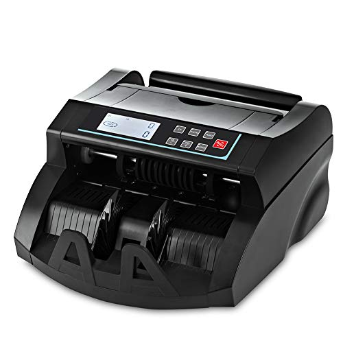 Bill Counter DOMENS UV+MG+IR+DD Counterfeit Detection Money Machine Counter-US Dollar Cash Counter-Portable Currency Banknote Counting Machine (LCD Display Black)