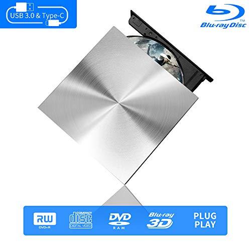 Blu Ray External 3D Drive Reader, Cloudtale USB C 3.0 and Type-C External Drive Bluray Optical CD DVD Drive for MacBook Windows Laptop Desktop PC Laptop