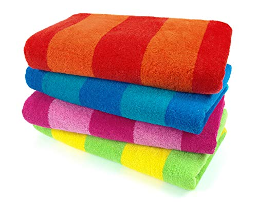 Kaufman – 100% Cotton Velour Striped Beach & Pool Towel 4-Pack – 30in x 60in