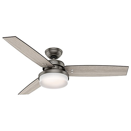 Hunter Fan Company Hunter 59211 52' Sentinel Ceiling Fan with Light and Remote, Brushed Slate
