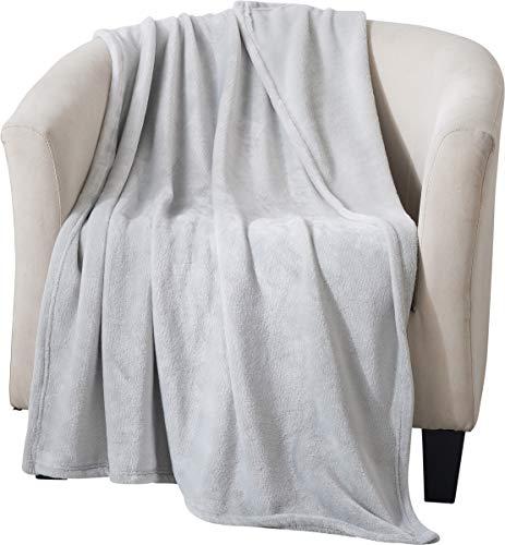 Style Basics Silky Soft Thick Plush Sofa Throw Blanket (Light Grey, Throw 50 X 70)