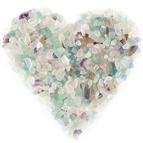 Hilitchi Quartz Stones Tumbled Chips Stone Crushed Crystal Natural Rocks Healing Home Indoor Decorative Gravel Feng Shui Healing Stones (About 1lb(450g)/Bag) (Fluorite)