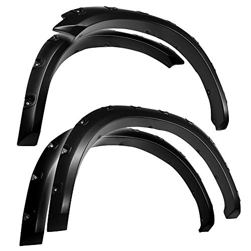 Tyger Auto TG-FF8D4148 for 2009-2018 Dodge Ram 1500; 2019-2020 Ram 1500 Classic | Exclude R/T, Warlock, Rebel Models | Paintable Smooth Matte Black Pocket Bolt-Riveted Style Fender Flare Set, 4 Piece