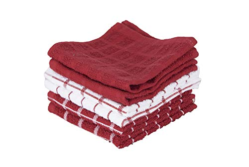 Ritz 100% Terry Cotton, Highly Absorbent Dish Cloth Set, 12 x 12, 6-Pack, Paprika Red