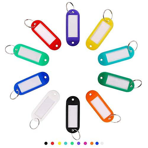 100 PCS Plastic Key Tags, Label Window with Rotating Split Ring, Key ID Tags for Name Tag, Key Chain Tag, Luggage Tags, Warehouse Key Tags, Plant Tags, Backpack Tags, Handmade DIY Key Tags, 10 Colors