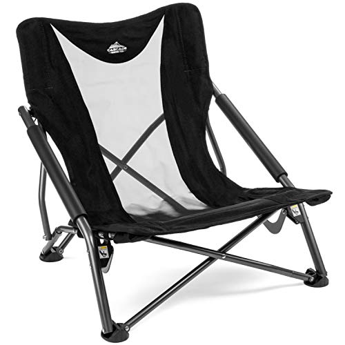 Cascade Mountain Tech Compact Low Profile Camp Chair  Portable Outdoor Folding Camp Chair with Carry Case with Carry Case
