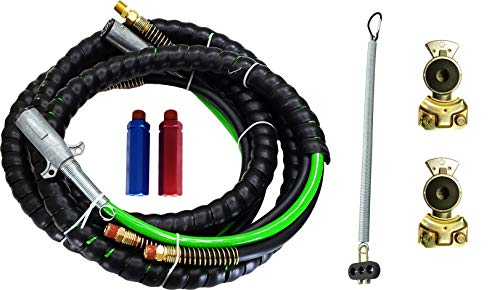 3 in 1 15ft ABS & Air Line Hose Wrap 7 Way Electrical Cable with Aluminium Handle Grip & Gladhands & 25' Tender Spring (Replaces for Philips 30-2171, Tectran 169157) (TR813215, 2 X TR035038, TR17145)