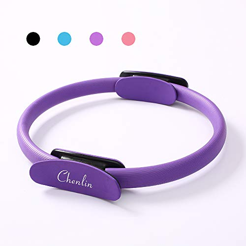 Chenlin 14' Dual Grip Handles Pilates Ring,Body Ring Home Workout for Toning and Fitness Thighs, Abs and Legs,Exercise Unbreakable Magic Circle (Purple)