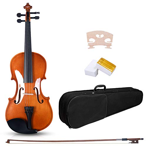 Goplus 4/4 Full-Size Acoustic Violin, Handcrafted Acoustic Violin Starter Kit, Solid Wood Fiddle w/Case, Bow, Rosin and Chin Rest, Great Gift for Beginners and Students (burlywood)