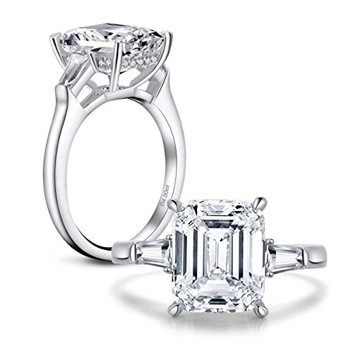 AINUOSHI 4 Carat Emerald Cut Ring Baguette 3 Stones Cubic Zirconia CZ Engagement Sterling Silver Band Jewelry(8.5)