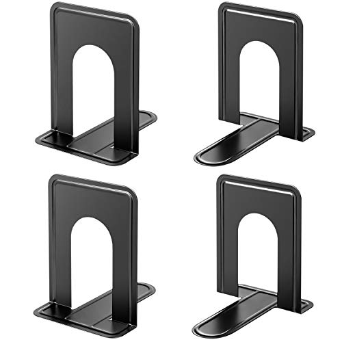 MaxGear Book Ends Universal Premium Bookends for Shelves, Non-Skid Bookend, Heavy Duty Metal Book End, Book Stopper for Books/Movies/CDs/Video Games, 6 x 4.6 x 6 in, Black (2 Pairs/4 Pieces, Large)