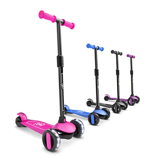 6KU 3 Wheels Kick Scooter for Kids and Toddlers Girls & Boys, Adjustable Height, Learn to Steer with Extra-Wide PU LED Flashing Wheels for Children from 2 to 5 Year-Old. (Pink)