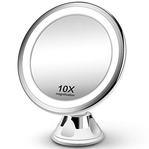 Makeup Mirror 10X Magnifying Vanity Mirror - 3 Color Modes & 36 LED Cosmetic Mirror, Touch Control, High Definition, 360°Rotation & Powerful Suction Cup for Bathroom Shower Travel