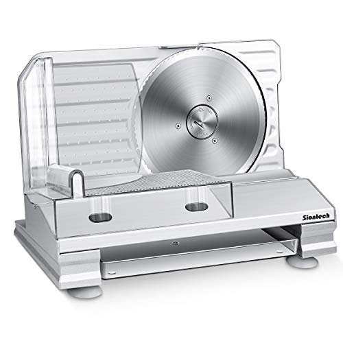 Meat Slicer,Siontech Electric Deli Food Slicer with Removable 7.5'' Stainless Steel Blade,Adjustable Thickness,Non-Slip Feet,Deli Slicer for Meat, Cheese, Bread