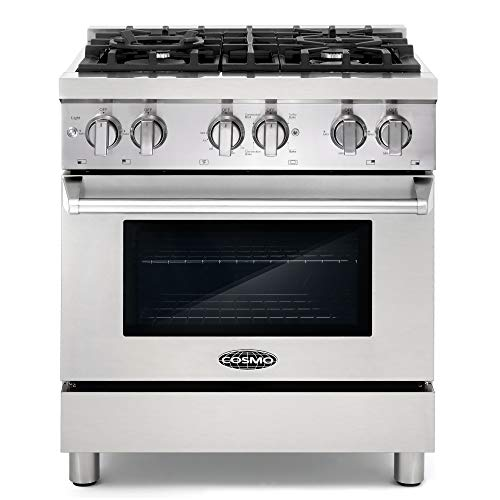 Cosmo DFR304 30 in Slide-In Free-standing Dual Fuel Range   Pro-Style 4 Sealed Burner Gas Rangetop , 3.9 cu. ft. Electric Convection Oven and Stove Cast Iron Grate Wok Attachment - Stainless Steel