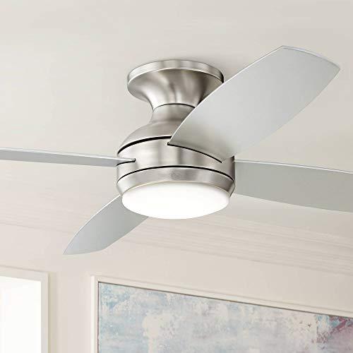 52' Casa Elite Modern Hugger Low Profile Ceiling Fan with Light LED Dimmable Remote Control Flush Mount Brushed Nickel for Living Room Bedroom - Casa Vieja