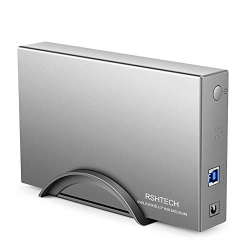 RSHTECH Hard Drive Enclosure USB 3.0 to SATA Aluminum External Hard Drive Dock Case for 3.5 inch HDD SSD up to 12TB Drives [Support UASP]