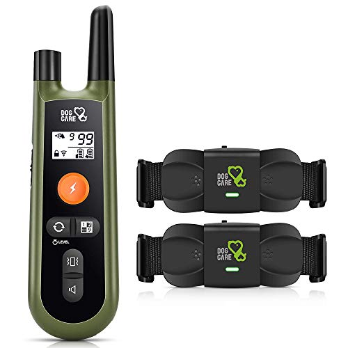DOG CARE Dog Training Collar with Remote - Rechargeable Training Collar w/3 Training Modes and IP65 Waterproof Dog Collar, 1000Ft Remote Range, 2 Receivers Dog Shock Collar for Large Medium Small Dogs