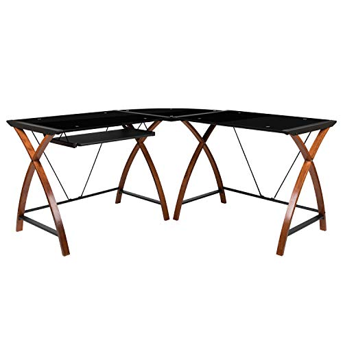 Flash Furniture Black Glass L-Shape Corner Computer Desk with Pull-Out Keyboard Tray