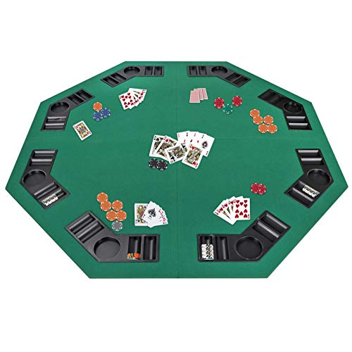 Smartxchoices 48' Folding Poker Table Top Octagon Layout - 8 Players Casino Games Texas Hold 'em, Blackjack, Gambling Poker Mat Cover with Cup Holders Carrying Case Family Game