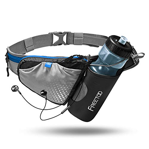 FREETOO Lightweight Running Water Bottle Belt No Bounce Running Water Waist Pack Hydration Belt with Bottle Holder for Runners, Marathon, Fitness Training, Hiking and Jogging