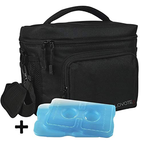 Insulated Lunch Bag, Large Insulated Lunch Box For Men Lunchbox with 2 Reusable Cooler Ice Packs, Lunch Cooler Lunch Bag for Men Fits 12 Cans