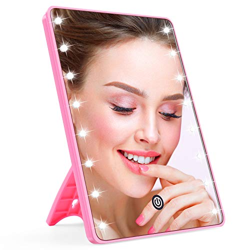 AHOOH Makeup Mirror for Women and Men, Lighted Makeup Vanity Mirror with 16 LED Lights,Touch Screen,Light Adjustable Dimmable Light up Mirrors for Home Tabletop Bathroom Shower Travel