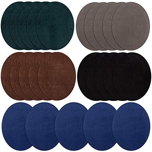 Iron On Patches 25 Pieces, Repair Patches 5 Colors Oval Suede Cowhide Elbow Patches Elbow Knee Iron-on Velvet Patches for Sweater Repair Crafts Repair Kit for Clothing Jeans