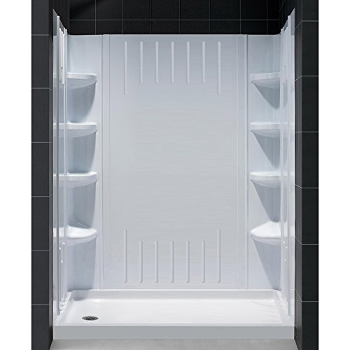DreamLine 30 in. D x 60 in. W x 75 5/8 in. H Left Drain Acrylic Shower Base and QWALL-3 Backwall Kit In White, DL-6145L-01