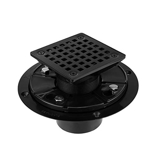 Square Design Tile-In Floor Shower Drain, ABS Adjustable Shower Drain Base,Lower Drain Body Fit 2' or 3',For Kitchen,Bathroom (BLACK A)