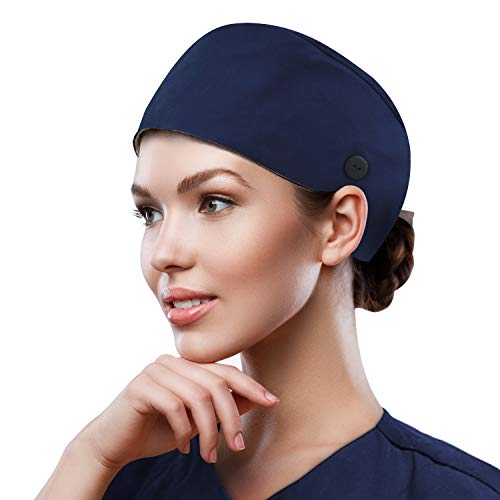 QBA Adjustable Working Cap with Button, Cotton Working Hat Sweatband, Elastic Bandage Tie Back Hats for Women & Men, One Size - Navy Blue