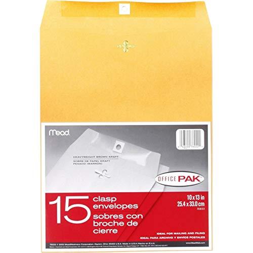 Mead Clasp Envelopes, 10' x 13', Brown Kraft, Office Pak, 15 per Box (76022)