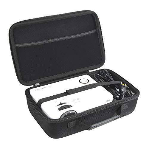 Hermitshell Hard Travel Case for QKK Mini Projector 4500Lumens Portable LCD Projector/QKK [2020 Upgrade 4200Lux] Potable Mini Projector (Case for Projector+Power Cable)