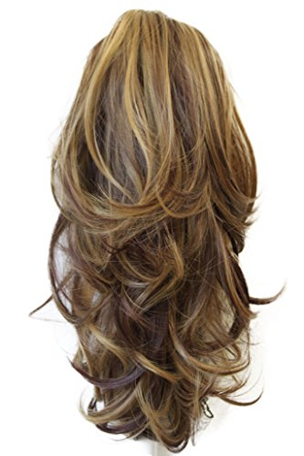PRETTYSHOP 14' Hair Piece Pony Tail Clip On Extension Voluminous Wavy Heat-Resisting Brown Blonde Mix # 33H27 H95