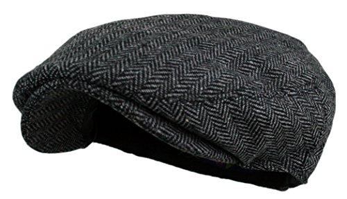 Wonderful Fashion Men's Herringbone Tweed Wool Blend Snap Front Newsboy Hat (DK.Grey, LXL)