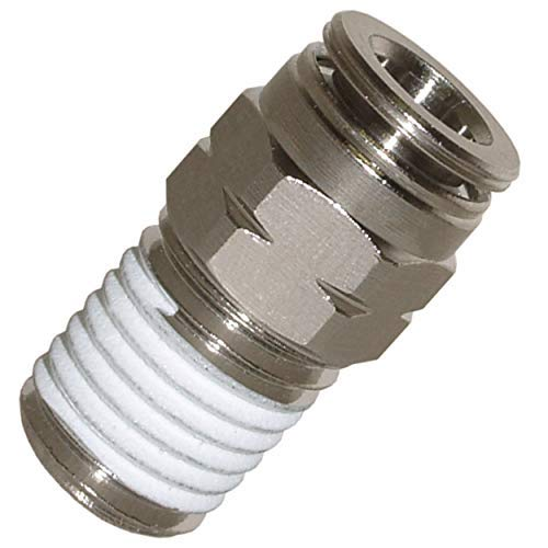 Utah Pneumatic Push to Connect Fittings Nickel-Plated Brass Pc Male Straight 3/8'Od 1/4'Npt Thread Straight Connect Push Fit Fittings Tube Fittings Pneumatic Fittings 5 Pack (3/8od1/4Npt Brass pc)
