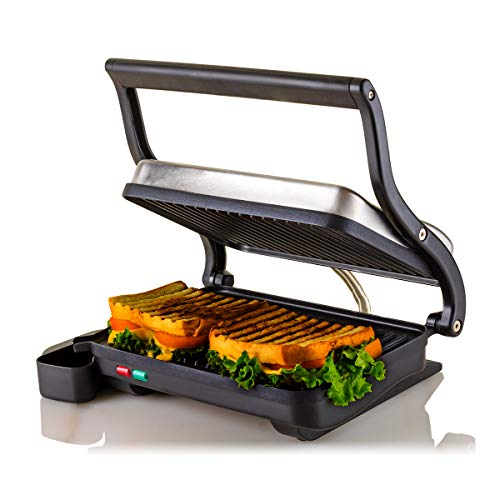 Ovente Electric Countertop Panini Press Grill with Double Nonstick Flat Cooking Plate and Portable Drip Tray, Cool Touch Sandwich Maker Toaster Perfect for BBQ Grilled Fish & Cheese, Silver GP0620BR