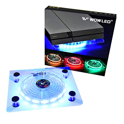 WF USB RGB LED Cooler Cooling Fan Stand, Multi-Color LED Light Cooler Pad Stand Accessories for PS4 Playstation 4 Pro, PS4 Slim, Xbox One X, Notebook, Laptop, Consoles