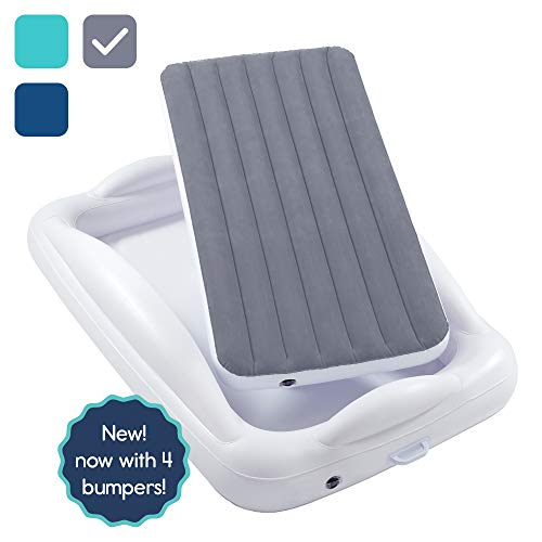 hiccapop Inflatable Toddler Travel Bed with Safety Bumpers | Portable Blow Up Mattress for Kids with Built in Bed Rail - Gray
