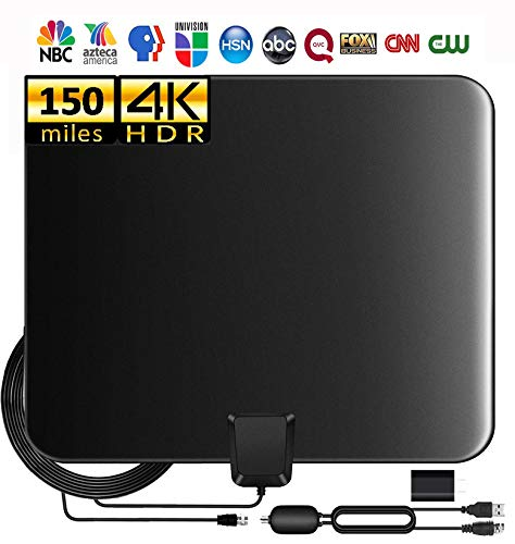 Updated 2020 TV Antenna for Digital TV Indoor, 90-150 Miles Indoor Digital HD Antenna 4K HD TV Antenna, Digital HDTV Antenna with Amplifier Signal Booster/USB Power Supply