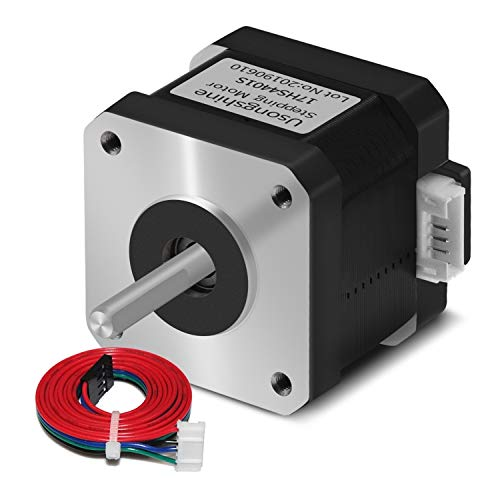 Usongshine Nema 17 Stepper Motor 42BYGH 1.8 Degree 38MM 1.5A 42 Motor (17HS4401S) 42N.cm (60oz.in) 4-Lead with 1m Cable and Connector for DIY CNC 3D Printer