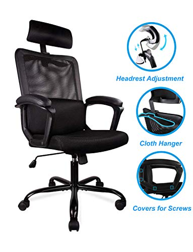 Smugdesk Office Chair, High Back Ergonomic Mesh Desk Office Chair with Padding Armrest and Adjustable Headrest Black