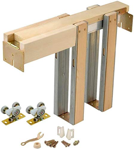 Johnson Hardware 1500 Series Commercial Grade Pocket Door Hardware for 2x4 Stud Wall (30 Inch x 80 Inch)