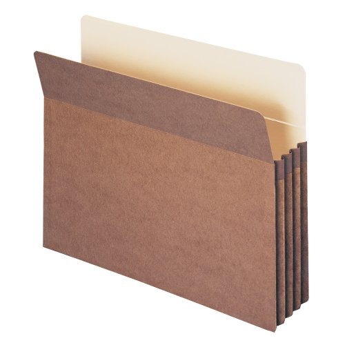 Smead File Pocket, Straight-Cut Tab, 3-1/2' Expansion, Letter Size, Redrope, 25 per Box (73224)
